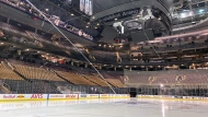Freshly-surfaced ice at Scotiabank Arena, home of the Toronto Maple Leafs, is shown in Toronto on March 12, 2020. THE CANADIAN PRESS/Joshua Clipperton