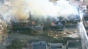 Crews are on the scene of a massive fire in Whitby.