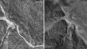 This combination of June 28, 2020, left, and July 6, 2020, satellite images provided by Maxar Technologies shows the Galwan Valley along the disputed border between India and China. June 28 image shows that the Indians had built a wall on their side and the Chinese had expanded an outpost camp at the end of a long road connected to Chinese military bases farther from the poorly defined border, according to experts. July 6 image shows China and India appear to have dismantled recent construction on both the Indian and Chinese sides of a contested border high in the Karakoram mountains following a deadly clash in the area. (Maxar Technologies via AP)