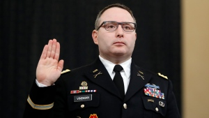 In this Nov. 19, 2019, file photo National Security Council aide Lt. Col. Alexander Vindman is sworn in to testify before the House Intelligence Committee on Capitol Hill in Washington. (AP Photo/Andrew Harnik, File)