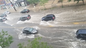 Flooding is pictured following a thunderstorm in Toronto Wednesday July 8, 2020. (@MartaSkky /Twitter)