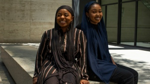 Zimman Yousuf, right, and Imaan Hyman pose in Toronto, on Monday, July 6, 2020. THE CANADIAN PRESS/Chris Young