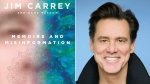 "This combination photo shows the cover of ""Memoirs and Misinformation,"" left, and a portrait of author-actor Jim Carrey. (Knopf, left, Austin Hargrave/Paramount via AP)"