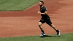 San Francisco Giants' Brandon Belt runs during a baseball practice on Friday, July 3, 2020, in San Francisco. (AP Photo/Ben Margot)