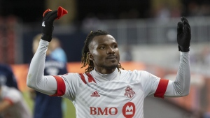 Toronto FC forward Ifunanyachi Achara (99) gestures to fans as he is taken out of the game during the last minutes second half MLS action against New York City FC in Toronto on Saturday March 7, 2020. Achara has undergone successful surgery to repair a torn anterior cruciate ligament and lateral collateral ligament in his left knee. THE CANADIAN PRESS/Chris Young