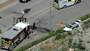 A vehicle involved in a fatal collision near Keele Street and Rutherford Road in Vaughan is shown in this aerial image.