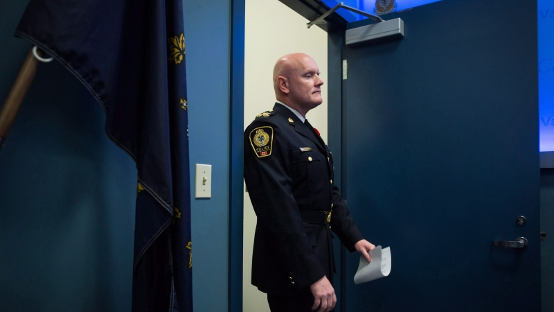 Vancouver Police Chief Adam Palmer arrives for a news conference in Vancouver, B.C., on Wednesday November 8, 2017. Canada's police chiefs are calling for decriminalization of personal possession of illicit drugs as the best way to battle substance abuse and addiction. THE CANADIAN PRESS/Darryl Dyck