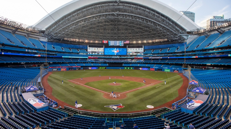 The Toronto Blue Jays play an MLB intrasquad baseball game in a nearly empty Rogers Centre in Toronto on Thursday, July 9, 2020. THE CANADIAN PRESS/Carlos Osori