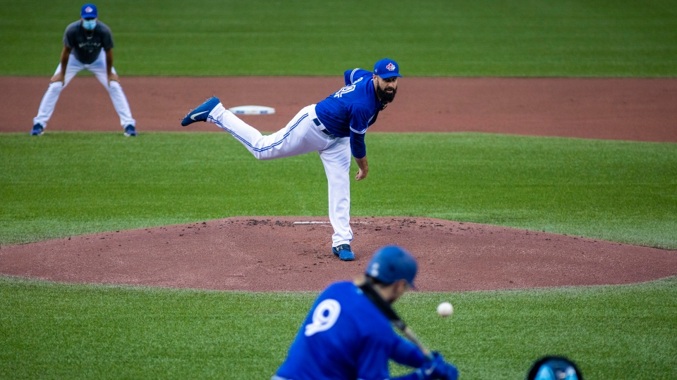 Toronto Blue Jays pitcher Matt Shoemaker delivers a pitch to teammate Danny Jansen during MLB intrasquad baseball action in Toronto on Thursday, July 9, 2020. THE CANADIAN PRESS/Carlos Osorio