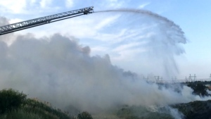 Fire crews from Peel Region battled a large grass fire in Brampton.