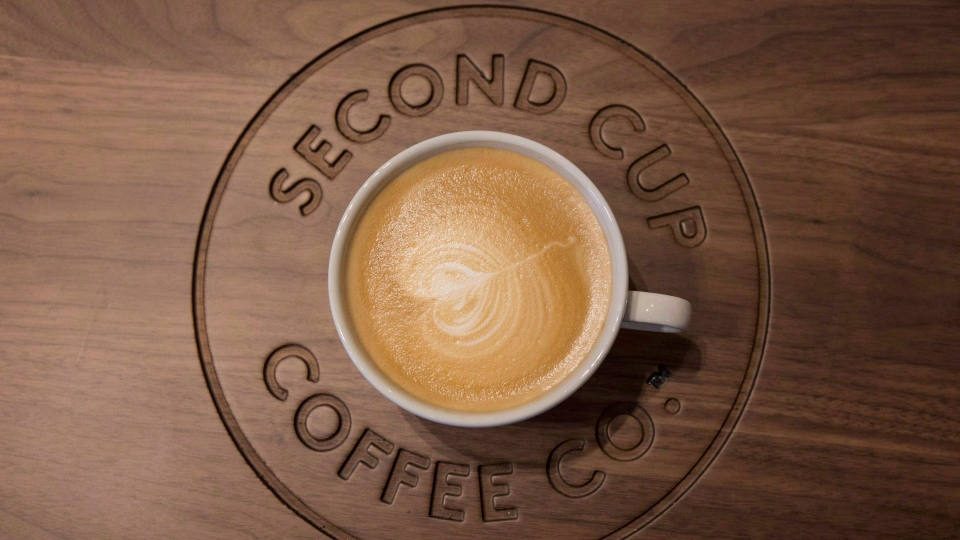 A cup of flat white coffee is shown at a Second Cup Coffee outlet in Toronto on Thursday, December 4, 2014. THE CANADIAN PRESS/Chris Young