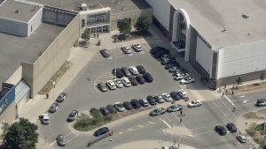 Police are investigating a shooting outside Scarborough Town Centre that left a man with serious injuries.