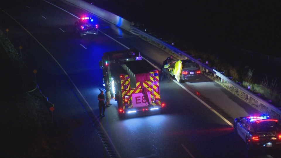 Police say one person is dead and another was seriously injured following a double shooting on Red Hill Parkway on Friday night. (Dave Ritchie/ CP24)