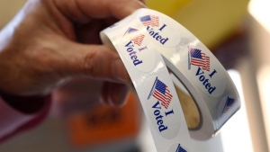 """I Voted"" stickers are seen in this November 2018 photo. (FILE/AP Photo/Rogelio V. Solis)"