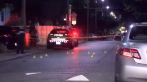 Evidence markers are seen after a shooting on Campbell Avenue on July 12, 2020. (CP24)