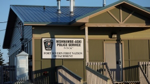 The Nishnawbe Aski Nation Police Service detachment is seen in Fort Severn, Ontario's most northerly community, on Friday, April 27, 2018. In its 26 years of existence, officers with Canada's largest Indigenous police force have never shot and killed anyone and no officer has died in the line of duty, despite a grinding lack of resources and an absence of normal accountability mechanisms. THE CANADIAN PRESS/Colin Perkel