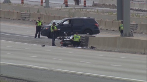 Provincial police are investigating a fatal motorcycle crash on Highway 401 in Mississauga.