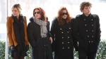 "FILE - In this Jan. 8, 2010, file photo, Priscilla Presley, second from left, her daughter, Lisa Marie Presley, second from right, and Lisa Marie's children, Riley Keough, left, and Benjamin Keough, right, take part in a ceremony in Memphis, Tenn., commemorating Elvis Presley's 75th birthday. Keough has died. Lisa Marie Presley's representative Roger Widynowski said in a statement Sunday, July 12, 2020, to The Associated Press that she was ""heartbroken"" after learning about the death of her Keough. (AP Photo/Mark Humphrey, File)"