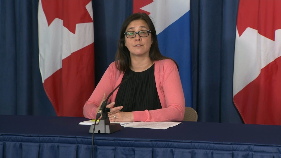 Toronto's Medical Officer of Health Dr. Eileen de Villa speaks at a news conference Monday July 13, 2020.