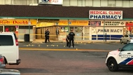 Police attend the scene of a shooting at Jane Street and Finch Avenue on July 13, 2020. (Craig Wadman)