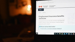 The employment insurance section of the Government of Canada website is shown on a laptop in Toronto on April 4, 2020. It was a sunny March 18 when Prime Minister Justin Trudeau presented the government's first big attempt at containing the economic fallout from COVID-19 in the form of an $82-billion rescue package. THE CANADIAN PRESS/Jesse Johnston
