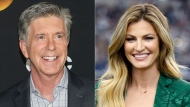 "This combination photo shows ""Dancing With the Stars"" co-hosts, Tom Bergeron, left, and Erin Andrews who will not be returning to the popular celebrity dance competition series. (AP Photo)"
