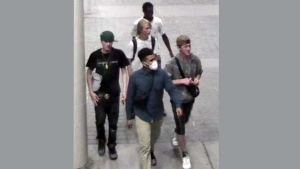 A group of suspects wanted in connection with a violent June 30, 2020 robbery is pictured. (Handout /Toronto police)