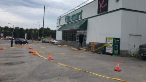 Yellow police tape surrounds a Valu-mart on Highway 35 in the township of Minden Wednesday July 15, 2020. (Harrison Perkins)
