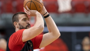 Toronto Raptors Marc Gasol aims a shot during the Raptors training camp practice, Tuesday, October 1, 2019 at Laval University in Quebec City. THE CANADIAN PRESS/Jacques Boissinot