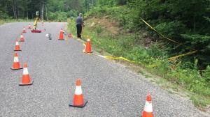 Investigators are shown at the scene of a police-involved shooting in Haliburton County. (Harrison Perkins)