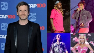"This combination photo shows, clockwise from left, music producer Dr. Luke, and performers, Lil Wayne, Juice WRLD, Doja Cat and Saweetie. Dr. Luke, who has been entangled in a bitter lawsuit with former collaborator Kesha since 2014, has produced and co-written Saweetie's new single ""Tap In,"" the follow-up to her double-platinum smash ""My Type."" He also co-wrote and co-produced Juice WRLD's ""Wishing Well,"" taken from the rapper's first posthumous album ""Legends Never Die,"" released last week. For his work with Cat, he used the alias Tyson Trax. For Lil Wayne's ""Shimmy,"" a track featuring Cat on the deluxe edition of his latest album ""Funeral,"" Dr. Luke used the name Loctor Duke. (AP Photo)"