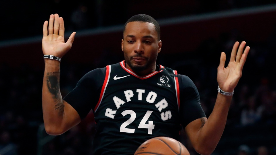 Toronto Raptors guard Norman Powell follows through on his dunk during the first half of the team's NBA basketball game against the Detroit Pistons, Friday, Jan. 31, 2020, in Detroit. Powell, who fractured a finger on his non-shooting hand on Jan. 31 in Detroit, was finally cleared to practise on Thursday, and is listed as questionable for Friday's game versus the visiting Charlotte Hornets. THE CANADIAN PRESS/AP/Carlos Osorio