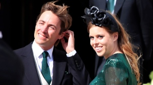 In this Aug. 31, 2019 file photo, Britain's Princess Beatrice with her fiance, Edoardo Mapelli Mozzi, attend the wedding of Ellie Goulding and Caspar Jopling, in York, England. (Peter Byrne/PA via AP, file)
