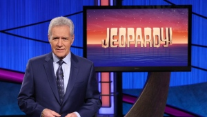 "This image released by Jeopardy! shows Alex Trebek, host of the game show ""Jeopardy!"" Alex Trebek says he's ""feeling great"" and is looking forward to the day he can safely return to the studio to shoot new ""Jeopardy!"" episodes. THE CANADIAN PRESS/AP, Jeopardy!"