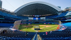 The Toronto Blue Jays take batting practice before the MLB intrasquad baseball game in Toronto on Thursday, July 9, 2020. THE CANADIAN PRESS/Carlos Osorio
