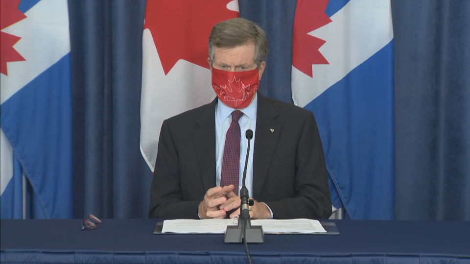 Mayor John Tory calls on apartment and condo buildings to make masks mandatory in common areas.