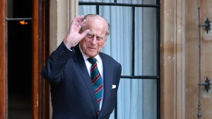 Britain's Prince Philip The Duke of Edinburgh arrives for a ceremony for the transfer of the Colonel-in-Chief of the Rifles from the Duke to the Camilla Duchess of Cornwall, who will conclude the ceremony from Highgrove House, at Windsor Castle, England, Wednesday July 22, 2020. (Adrian Dennis/Pool via AP)