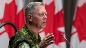 Then-Chief of Defence Staff Jonathan Vance responds to a question during a news conference Friday, June 26, 2020 in Ottawa. THE CANADIAN PRESS/Adrian Wyld
