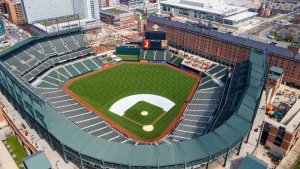 FILE - In this Thursday, March 26, 2020, file photo, Oriole Park at Camden Yards is closed on what would've been Opening Day in Baltimore, Md. (AP Photo/Steve Helber, File)
