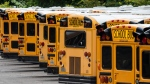 Fairfax County Public School buses are lined up at a maintenance facility in Lorton, Va., Friday, July 24, 2020. The nation's 10th largest school district plans an all-virtual start to the fall semester amid the Covid-19 pandemic. (AP Photo/J. Scott Applewhite)