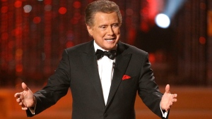 "FILE - In this June 27, 2010 file photo, host Regis Philbin is seen on stage at the 37th Annual Daytime Emmy Awards in Las Vegas. Philbin, the genial host who shared his life with television viewers over morning coffee for decades and helped himself and some fans strike it rich with the game show ""Who Wants to Be a Millionaire,"" has died on Friday, July 24, 2020. (AP Photo/Eric Jamison)"