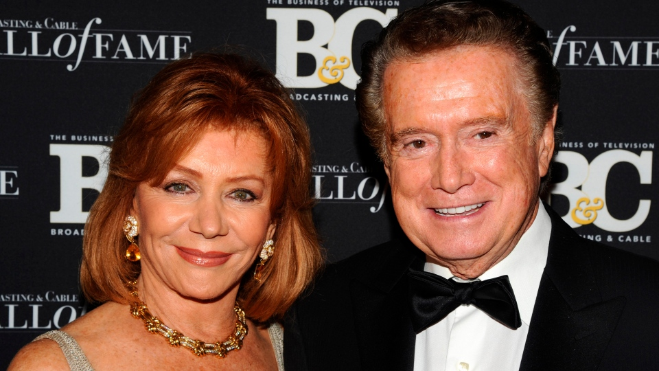 "FILE - In this Oct. 27, 2010 file photo, Regis Philbin and his wife Joy Philbin attend the 20th anniversary of The Broadcasting & Cable Hall of Fame, in New York. Philbin, the genial host who shared his life with television viewers over morning coffee for decades and helped himself and some fans strike it rich with the game show ""Who Wants to Be a Millionaire,"" has died on Friday, July 24, 2020. (AP Photo/Peter Kramer, File)"