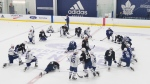 Toronto Maple Leafs players gather at centre ice during a practice session in Toronto on Saturday July 25 2020. THE CANADIAN PRESS/Chris Young