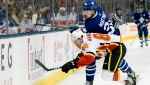 In this Jan. 16, 2020, file photo, Toronto Maple Leafs center Auston Matthews (34) hits Calgary Flames left wing Andrew Mangiapane (88) during the first period of an NHL hockey game in Toronto. (Nathan Denette/The Canadian Press via AP, File)