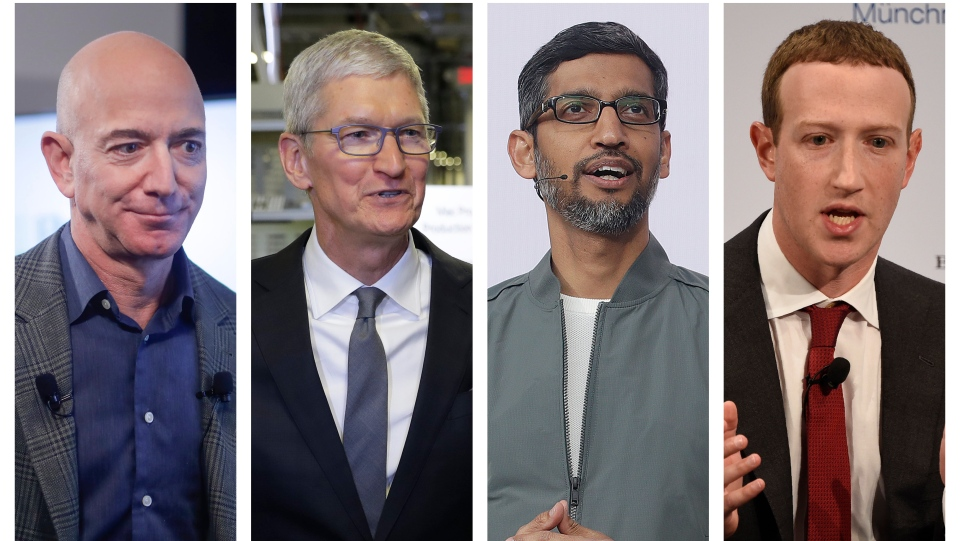 This combination of 2019-2020 photos shows Amazon CEO Jeff Bezos, Apple CEO Tim Cook, Google CEO Sundar Pichai and Facebook CEO Mark Zuckerberg. On Wednesday, July 29, 2020, the four Big Tech leaders will answer for their companies' practices before Congress at a hearing by the House Judiciary subcommittee on antitrust.  (AP Photo/Pablo Martinez Monsivais, Evan Vucci, Jeff Chiu, Jens Meyer)