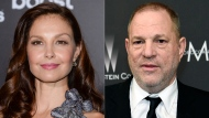 """Ashley Judd attends the premiere of """"The Divergent Series: Insurgent"""" in New York on March 16, 2015, left, and film producer Harvey Weinstein arrives at The Weinstein Company and Netflix Golden Globes afterparty in Beverly Hills, Calif. on March 16, 2015. A federal appeals court on Wednesday revived Judd's sexual harassment lawsuit against Weinstein. (AP Photo)"""