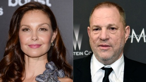"Ashley Judd attends the premiere of ""The Divergent Series: Insurgent"" in New York on March 16, 2015, left, and film producer Harvey Weinstein arrives at The Weinstein Company and Netflix Golden Globes afterparty in Beverly Hills, Calif. on March 16, 2015. A federal appeals court on Wednesday revived Judd's sexual harassment lawsuit against Weinstein. (AP Photo)"