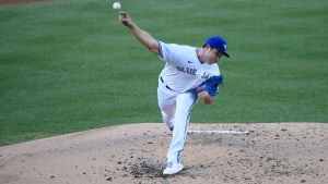 Toronto Blue Jays starting pitcher Nate Pearson delivers a pitch during the third inning of a baseball game against the Washington Nationals, Wednesday, July 29, 2020, in Washington. (AP Photo/Nick Wass)