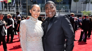 Megan Wollover, left, and Tracy Morgan arrive at the ESPY Awards on July 10, 2019, in Los Angeles. Morgan and his wife of five years will part ways. (Photo by Richard Shotwell/Invision/AP, File)