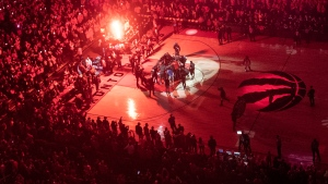 Toronto Raptors players huddle on the court before Game 6 of the NBA basketball playoffs Eastern Conference finals against the Milwaukee Bucks on Saturday, May 25, 2019, in Toronto. John Wiggins' biggest fear was that when the NBA restart tipped off in Florida that the world would forget about George Floyd and Breonna Taylor, and the conversation around racial injustice would fizzle out. THE CANADIAN PRESS/Chris Young